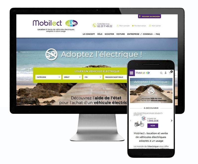 page d accueil site et mobile de mobilect