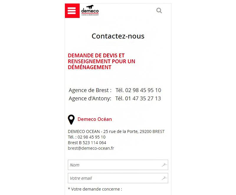 Page contact mobile de Demeco