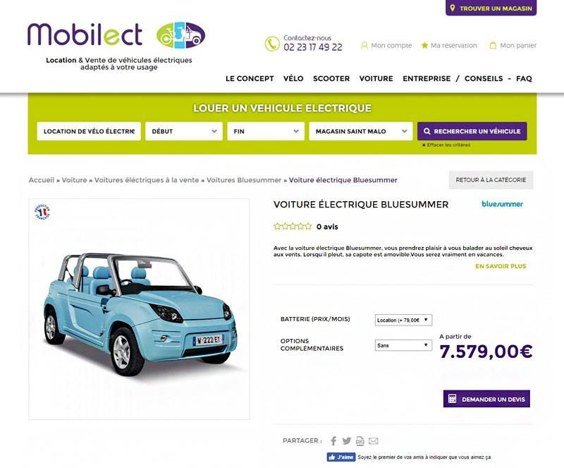 Fiche article du site Mobilect