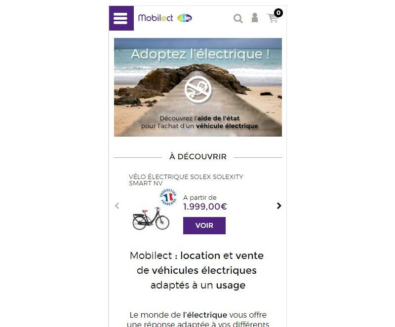 Page d'accueil mobile de Mobilect
