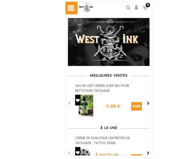Page d'accueil mobile de West ink