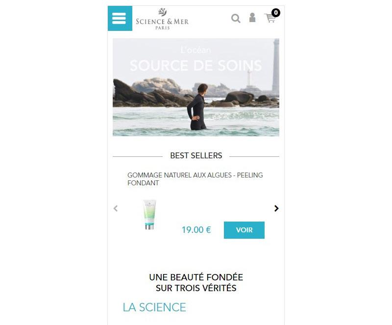 Page d'accueil mobile de Science & mer