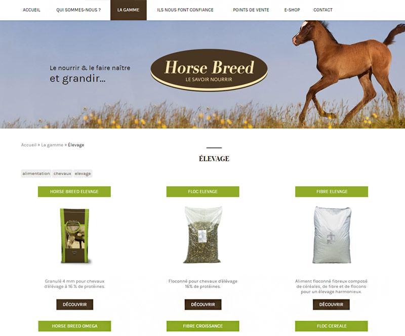 Page information du site Horse Breed