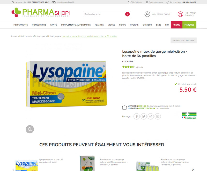 Fiche article de Pharmashopi