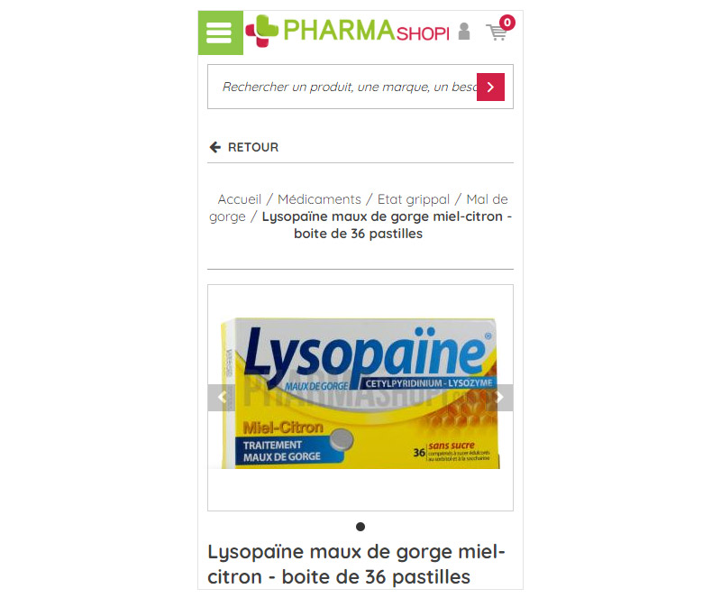 Fiche article mobile de Pharmashopi