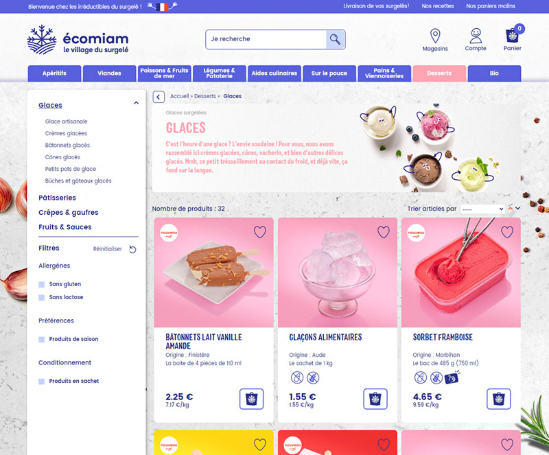 Page listing écomiam