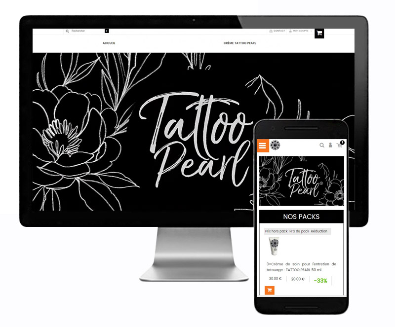 Page d'accueil site et mobile Tattoo Pearl