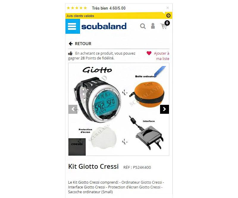 Fiche article mobile de Scubaland.fr